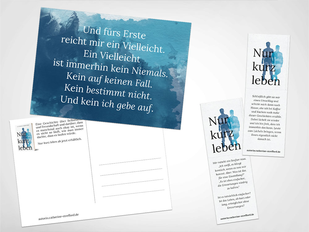 Nur kurz leben Lesezeichen und Postkarten